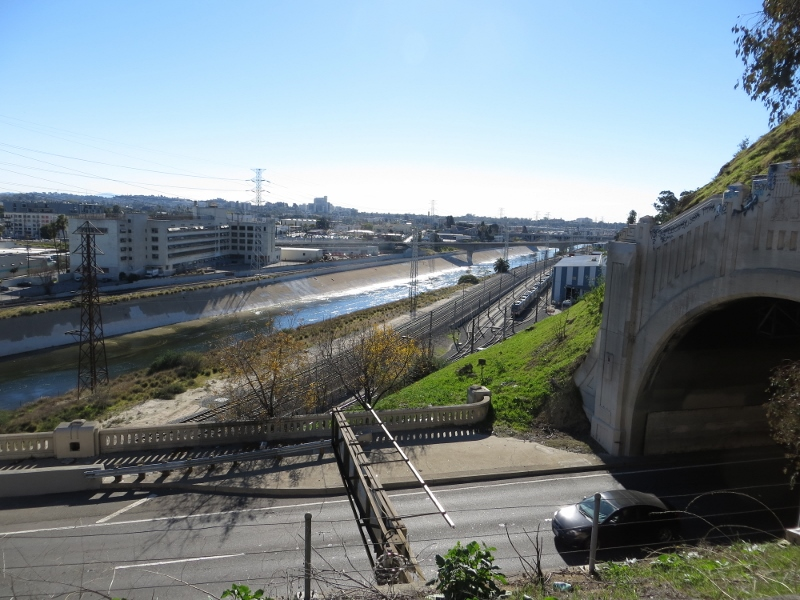 This the Los Angeles River from the walk inside the freeway.