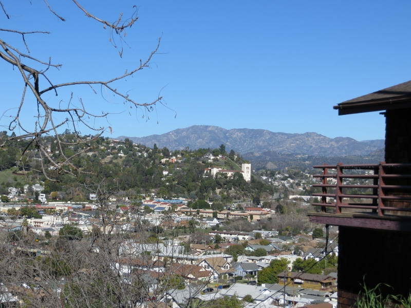 That's the Mount Washington neighborhood on the other side of the valley. The tall white building near the center is the Southwest Museum.