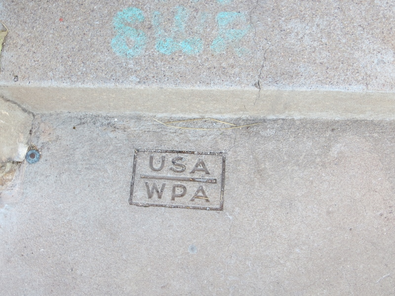 Here is an example of WPA stamped into the concrete. You'll see this almost everywhere you walk.