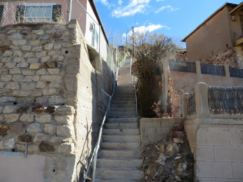 Other stairs go straight up the hillside. Altogether Petey and climbed over 70 stairways for over 5700 steps.