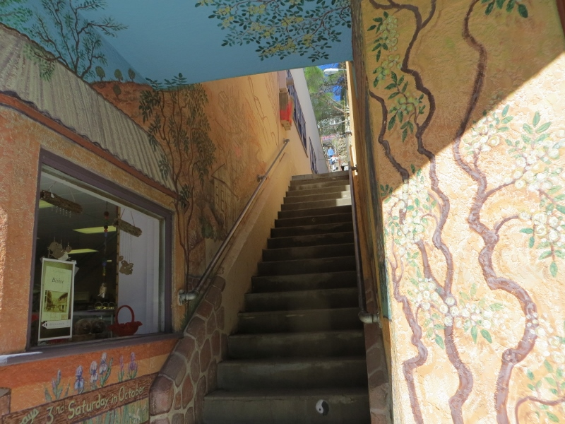 This stairway starts in a storefront on Main Street.