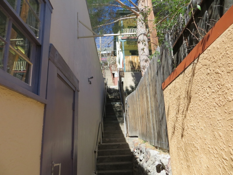 It winds for 181 steps past several houses.
