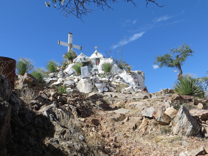 If you keep climbing to the top of the hill you'll come to this Hispanic Catholic shrine.