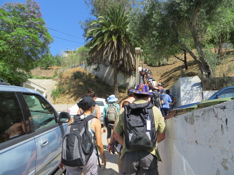Day One of the Big Parade began in downtown LA and worked its way to Echo Park. Here we are climbing up a stairway in Echo Park.