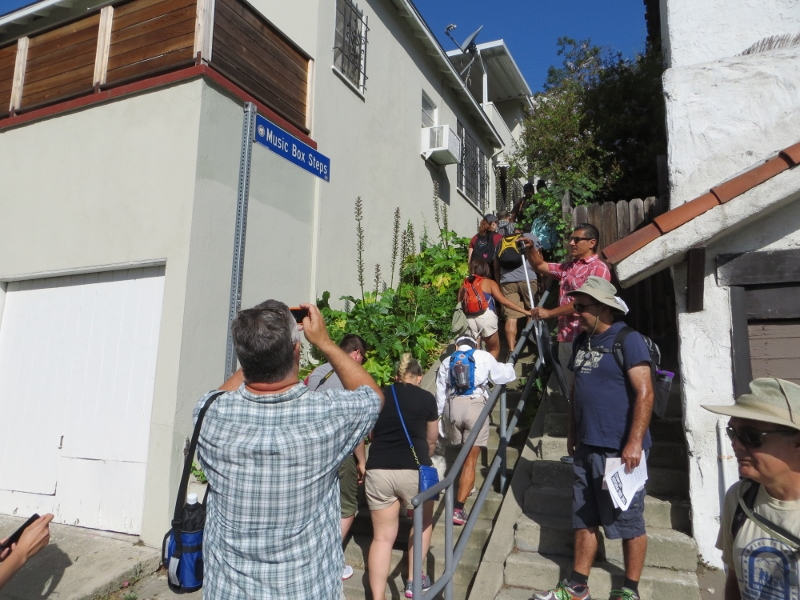 "Day Two began at the Music Box stairs near the Silver Lake neighborhood. The steps are where Laurel and Hardy filmed ""The Music Box."""