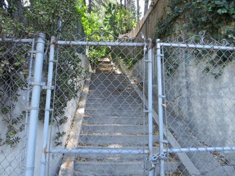 I was told that this stairway was gated at the request of the record producer Daniel Lanois. He didn't want stairway walkers disturbing his recording sessions.