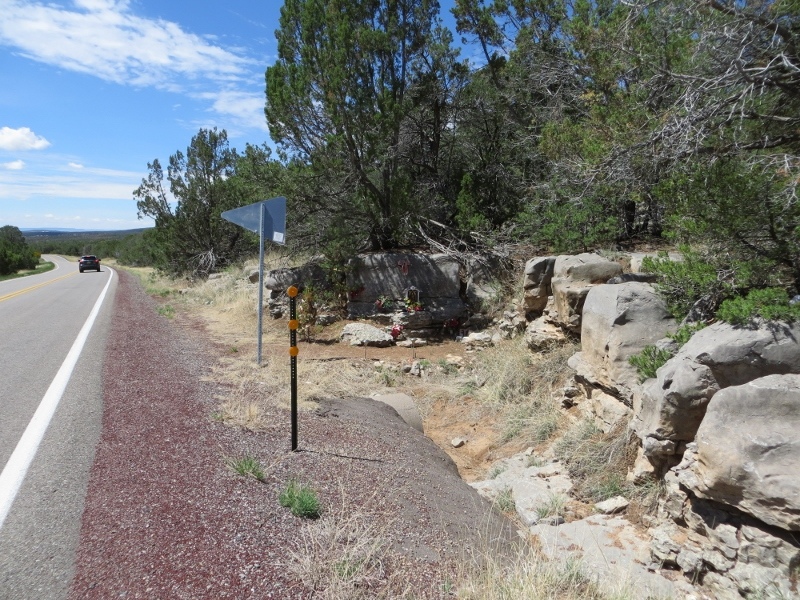 Roadside shrines are quite common in New Mexico and this road was no exception. Many of them are for people killed in automobile accidents and are called Descansos. I am not sure of the purpose of this shrine.
