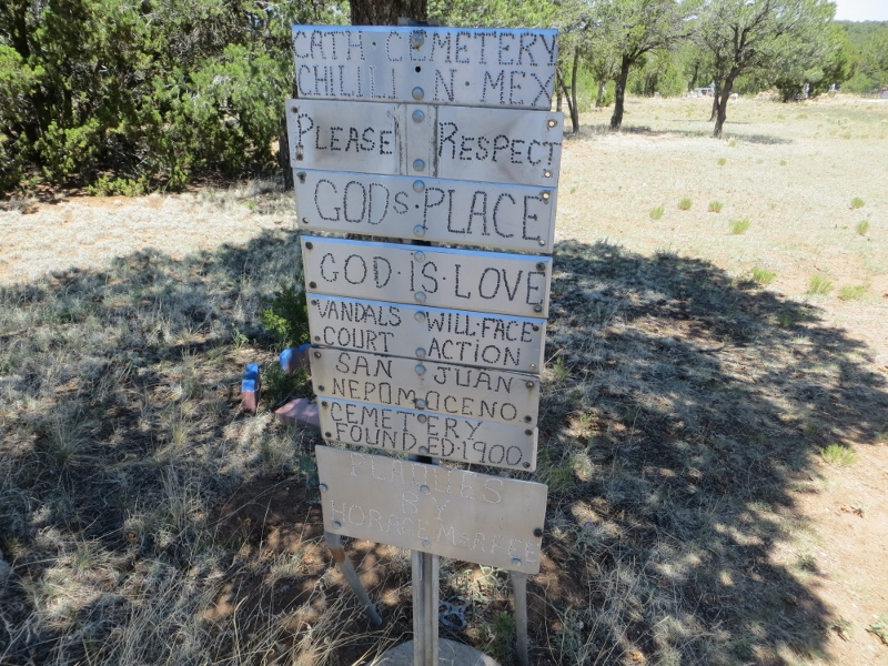 This punch tinwork is at the entrance of the Chilili cemetery.