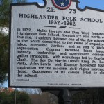 Highway marker for the Highlander Folk School on U.S. 41.