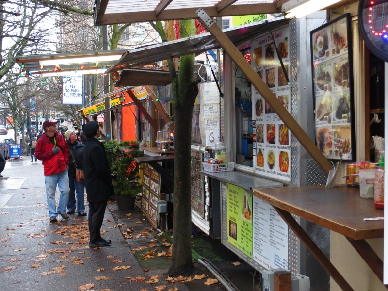 You can find a food cart for everything cuisine imaginable. It's like going through a cafeteria with several choices except that you're outside. You can find them all over Portland.
