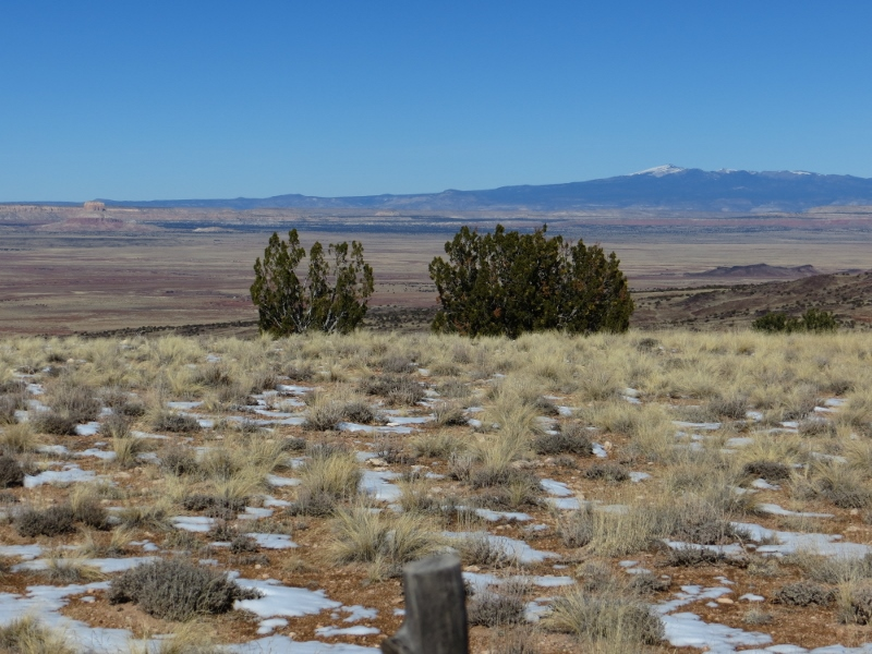 Looking northwest from the mesa top toward Mount Taylor.
