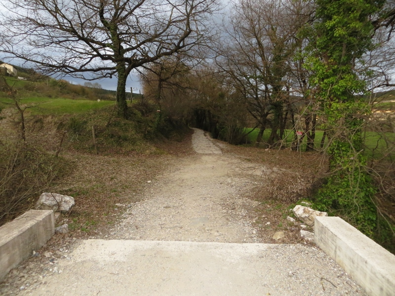 The Camino route was always changing. Here it is a paved footpath.