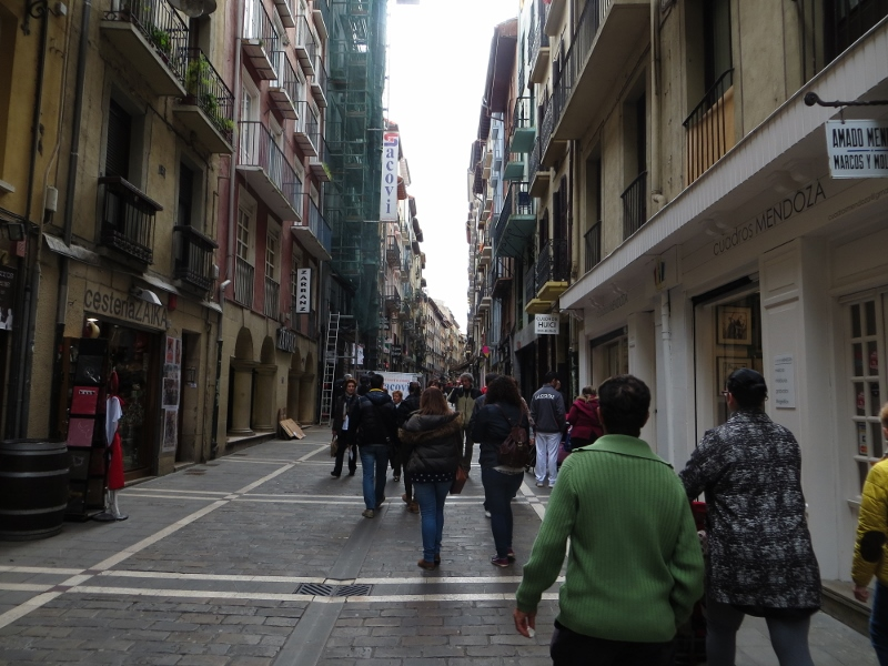 The bulls run down this street during the festival of San Fermin.