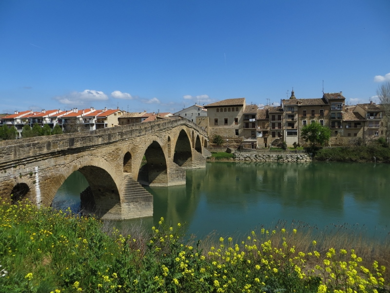 The Camino would usually cross a river on the old bridge. (Puente la Reina)