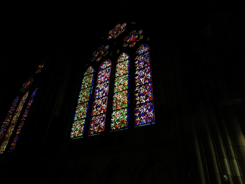 one of the many stained glass windows in the Leon cathedral.
