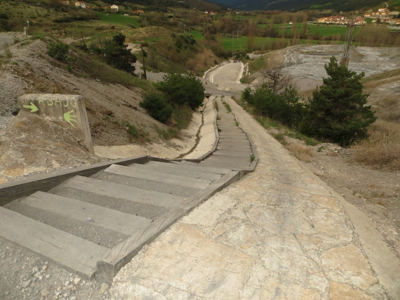 In many steep places, the Camino became a stairway. This 93-step stairway is between Zubiri and Pamplona.