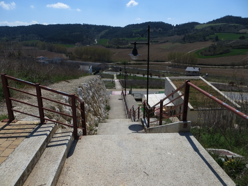Here is the 152-step at Obanos. This view is from the Camino.