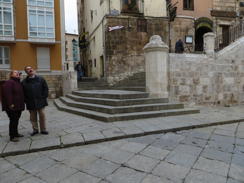 Here's the stairway at the corner of the plaza in front of the huge Burgos Cathedral.