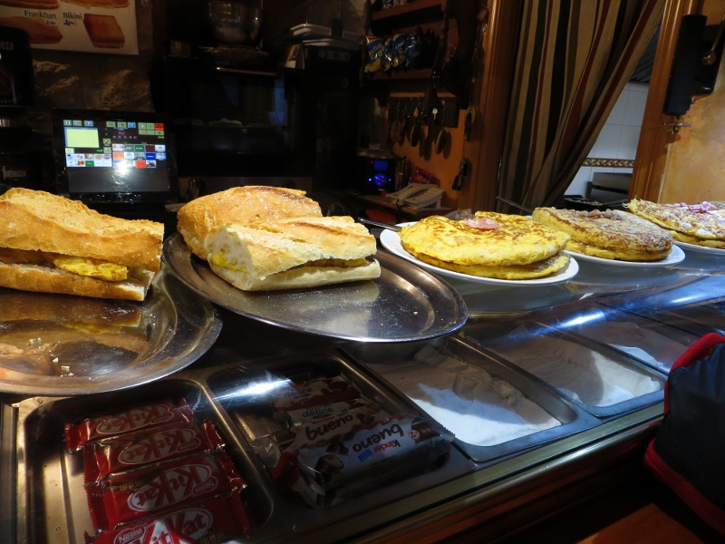 Here a typical example of breakfast offerings from a bar. I usually ordered a Spanish ham and queso bocadilla.