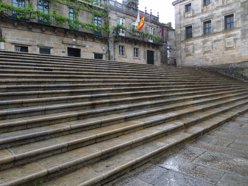 These steps take you down to the plaza in front of the south entrance of the Santiago Cathedral.