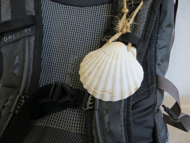 I wore my shell on the front of my backpack.