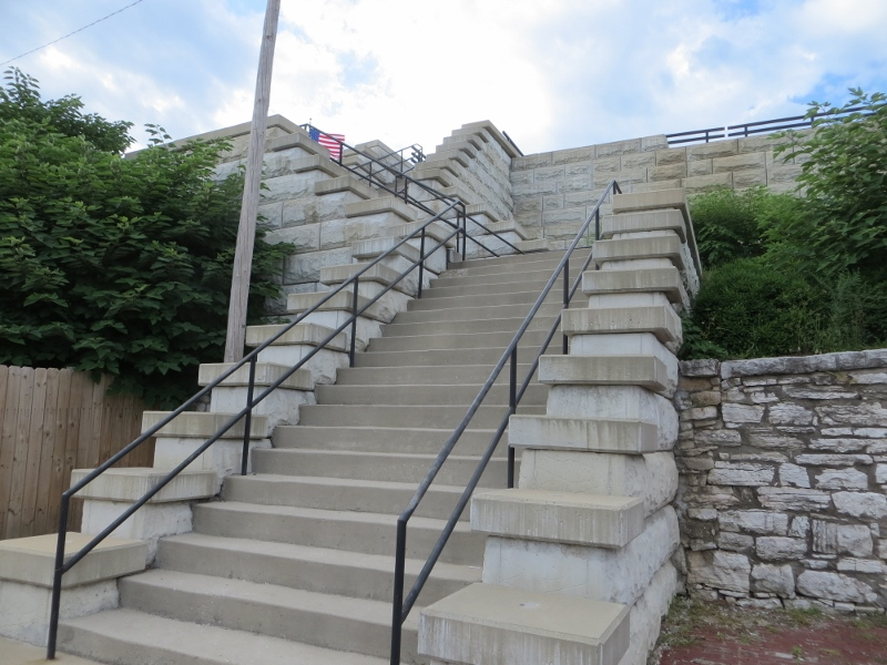 The new 40-step stairway by City Hall in Alton.