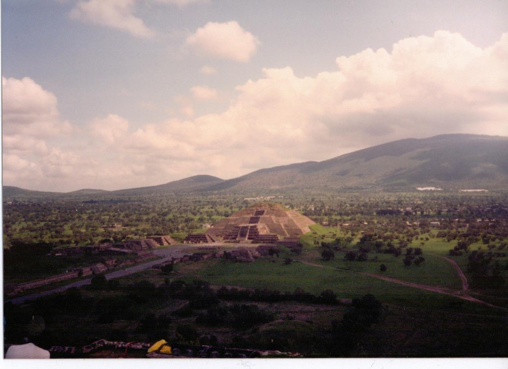 A view of the Pyramid of the Moon from the top of the Pyramid of the Sun.