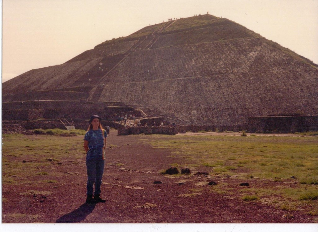 Here's Amy standing in front of the pyramid of the sun. We climbed to the top for our viewing spot.