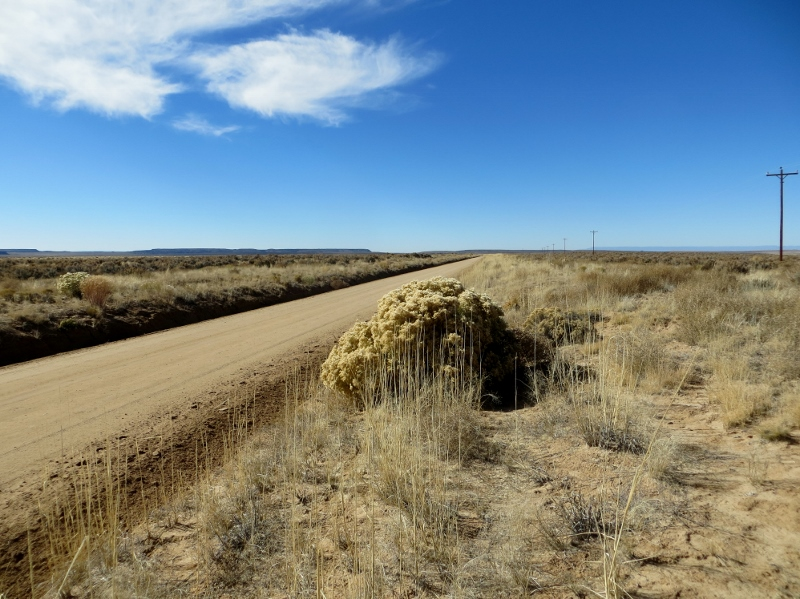 As you can see there's not much traffic. Chaco Canyon is beyond the ridge you can see in the distance.