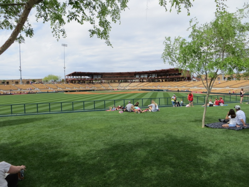 Here the main ballpark from center field. By game time the grassy area will be filled with fans having a picnic.