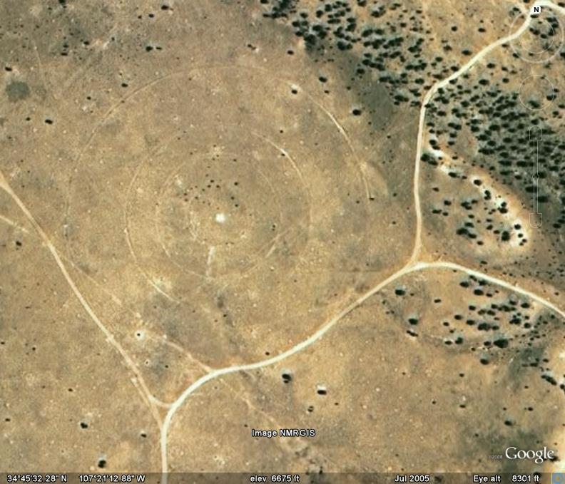 This prompted us to look at Google Earth and we found three bomb targets on the mesa. They were built during World War II to train bomber crews.