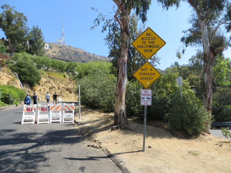 Some of the roads had barriers to discourage drivers from trying to get a close parking spot to reach the sign.