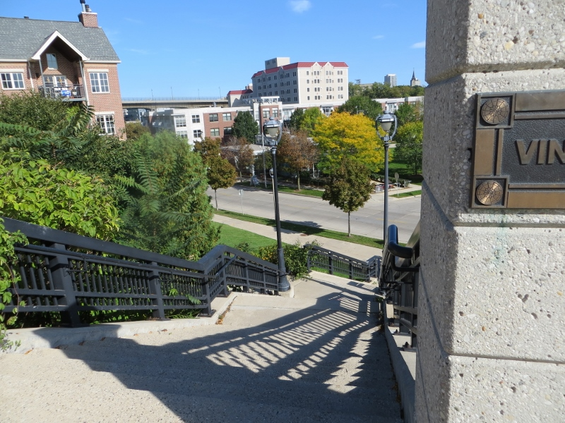 This stairway is right across the street from the tavern and an extension of Vine Street.