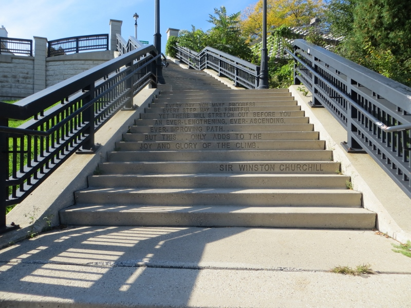 After counting sixty steps on my way down, I turned around and noticed the series of quotes on the step risers.