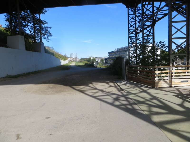 I don't know how far this path goes, but I did notice a great walkway under the viaduct and followed it.