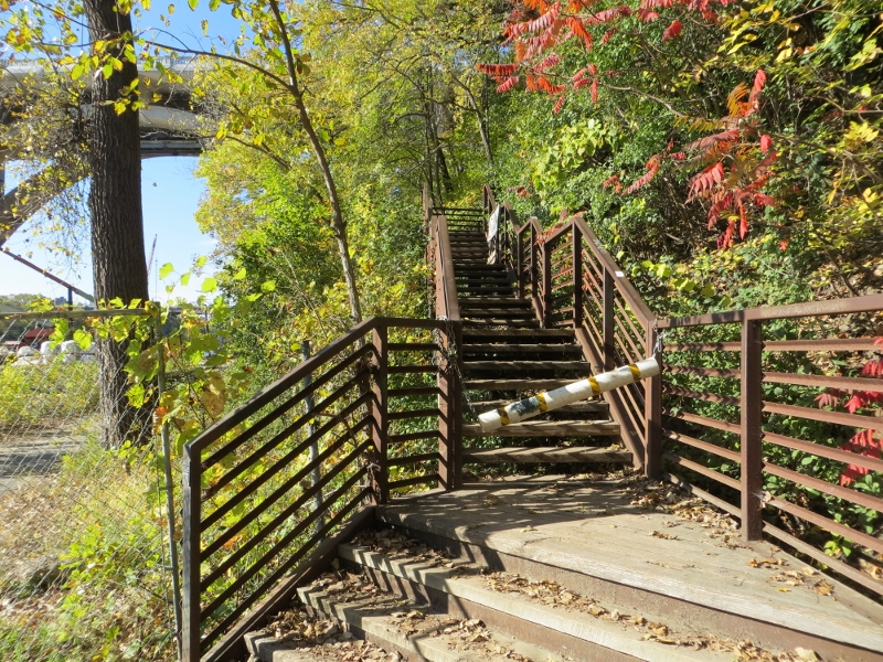 The stairway had 147 steps and was temporarily closed due construction on the Franklin Avenue bridge. We stepped over the barrier and walked down the stairs.