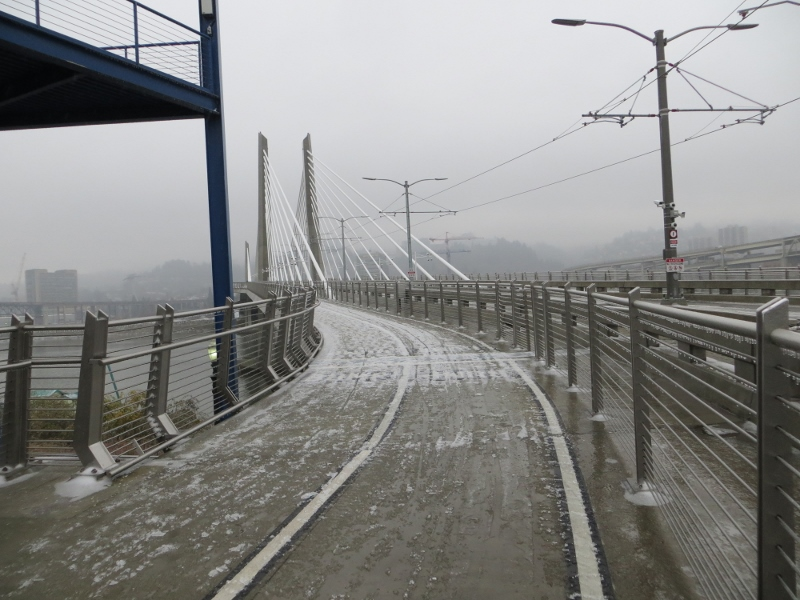 As you can see, it was very snowy and icy day when my grandson and I walked across the bridge.