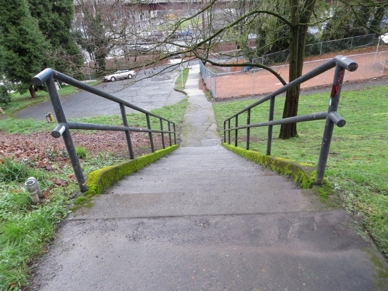 We eventually found this small stairway to bring us closer to the riverfront.