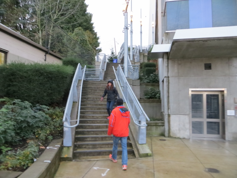 These are the stairs leading up to the Gibbs Street Bridge.
