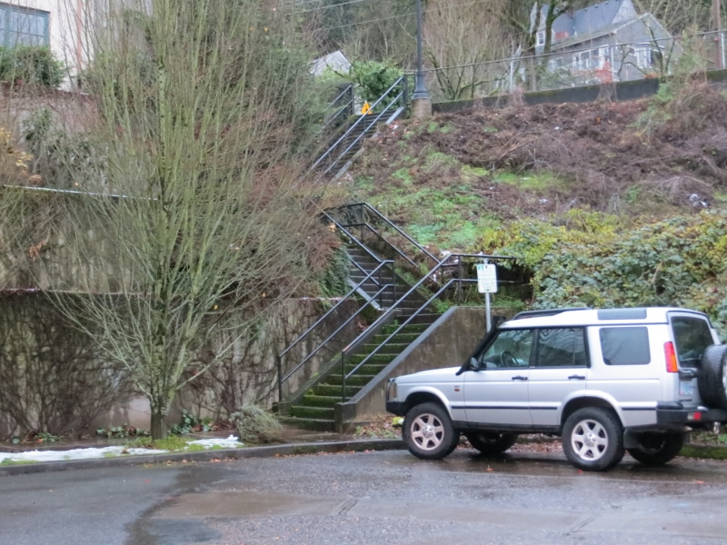 At the end of Gibbs Street, we found this 50-step stairway to take us up to Barbur Blvd.