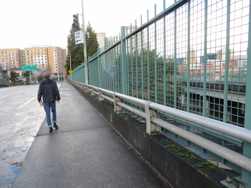 Notice how the city of Portland has raised the height of the barrier on the bridge over the expressway. Many expressway bridge barriers are way to low for a safe and pleasant walk.