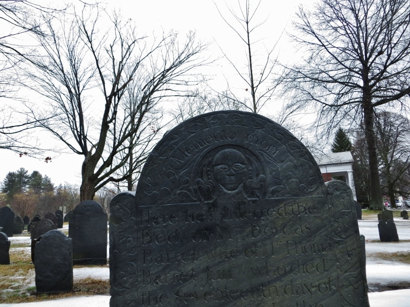 If you wander around a New England cemetery, you'll find wonderful carbed headstones. Several decades ago, tombstone rubbing was a popular hobby. This burial ground is in Concord, Massachusetts.