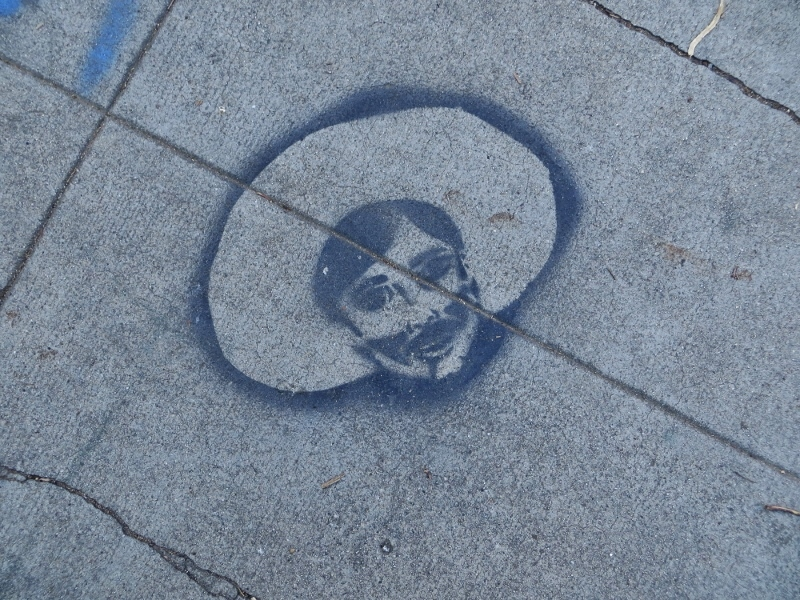 And you can sometimes find Folk Art stenciled on the sidewalk.
