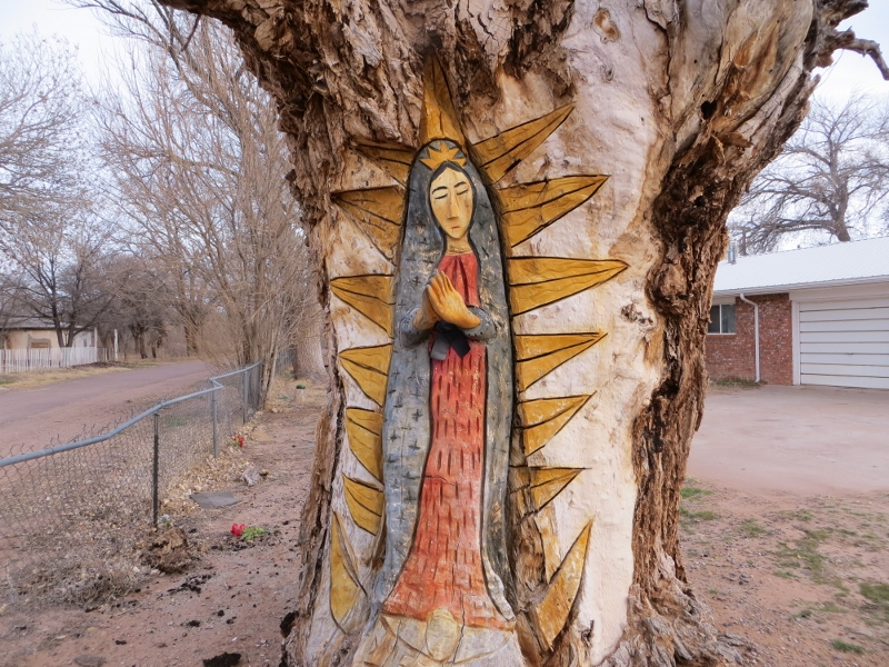 If you're driving through a small Hispanic settlement in New Mexico, you might find a Virgin of Guadalupe carved into an old cottonwood tree. This one is in the community of La Joya.
